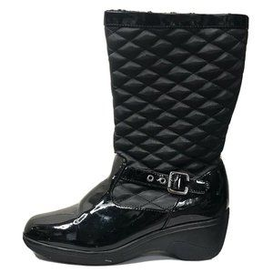 Bass Black Quilted Top Fleece Lined Side Zip Boots